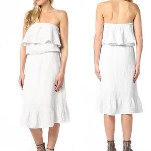 Michael Stars Gauze Blouson Midi White Dress Small